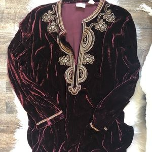 Chico's red velvet embellished tunic